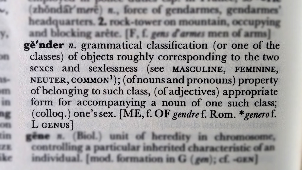 The dictionary definition of gender.